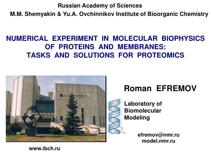 Russian Academy of SciencesM.M. Shemyakin & Yu.A. Ovchinnikov Institute of Bioorganic ChemistryNUMERICAL EXPERIMENT IN MOL...