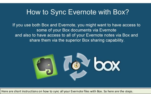 Here are short instructions on how to sync all your Evernote files with Box. So here are the steps.