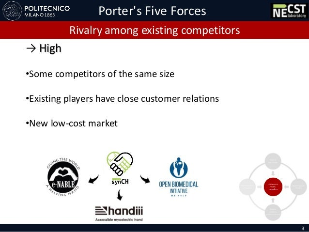 Porter's Five Forces 3 Rivalry among existing competitors → High •Some competitors of the same size •Existing players have...