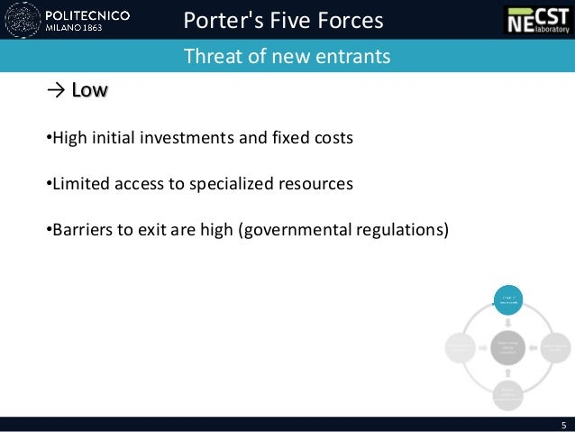 Porter's Five Forces Threat of new entrants → Low •High initial investments and fixed costs •Limited access to specialized...