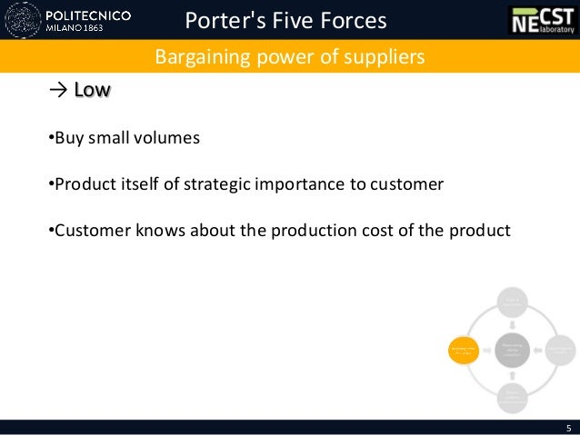 Porter's Five Forces 5 Bargaining power of suppliers → Low •Buy small volumes •Product itself of strategic importance to c...