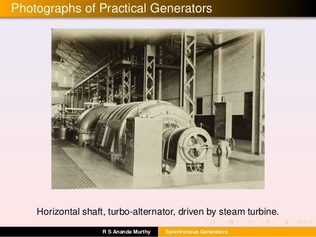 Photographs of Practical Generators Horizontal shaft, turbo-alternator, driven by steam turbine. R S Ananda Murthy Synchro...