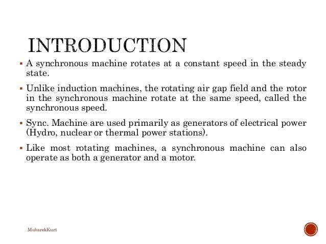 Electrical Power Systems Synchronous Generator Slide 2