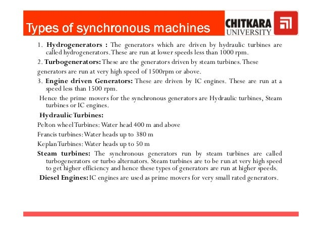 TypesTypesTypesTypes ofofofof synchronoussynchronoussynchronoussynchronous machinesmachinesmachinesmachines 1. Hydrogenera...