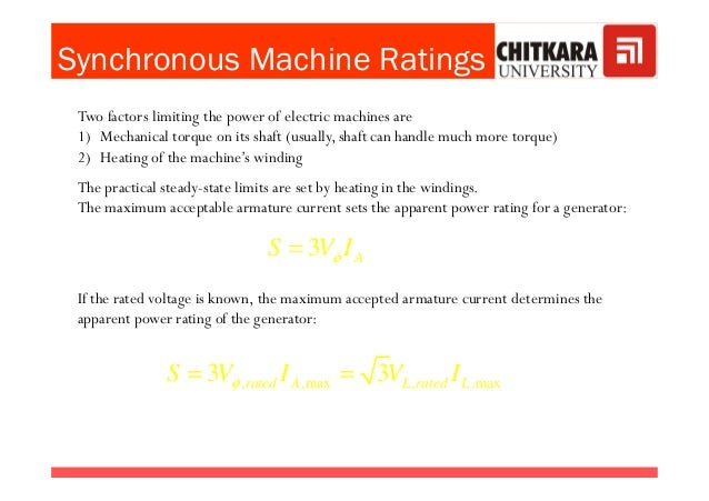 Synchronous Machine Ratings 2.Apparent power and Power factor Two factors limiting the power of electric machines are 1) M...