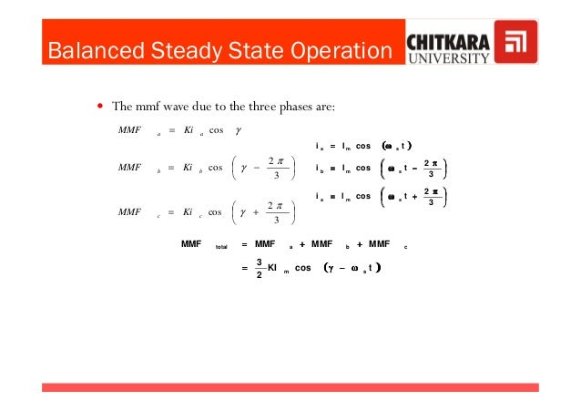 Balanced Steady State Operation The mmf wave due to the three phases are:  +=       −= = 2 3 2 cos cos π γ π γ γ b...