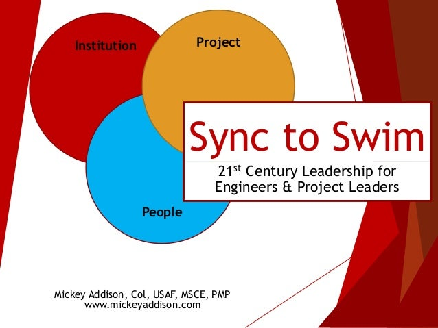 Institution People Project Sync to Swim 21st Century Leadership for Engineers & Project Leaders Mickey Addison, Col, USAF,...