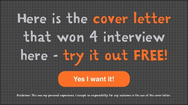 Here is the cover letter that won 4 interview here - try it out FREE! ! Yes I want it! Disclaimer: This was my personal ex...