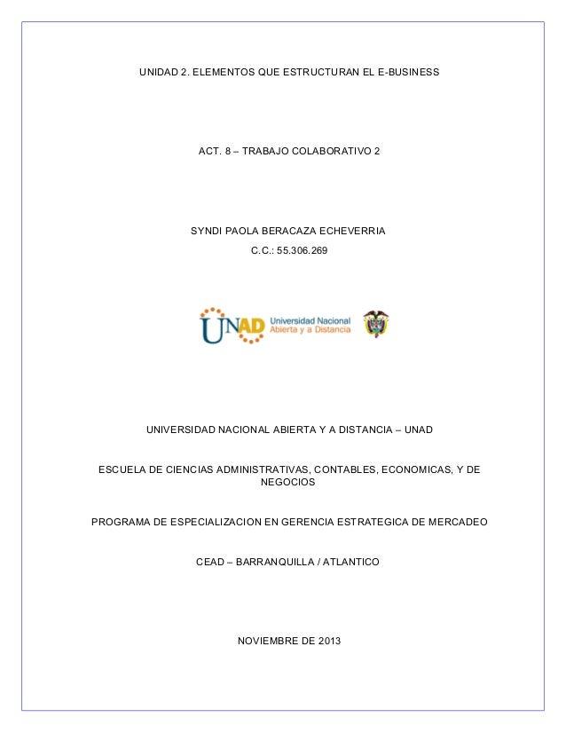 UNIDAD 2. ELEMENTOS QUE ESTRUCTURAN EL E-BUSINESS  ACT. 8 – TRABAJO COLABORATIVO 2  SYNDI PAOLA BERACAZA ECHEVERRIA C.C.: ...