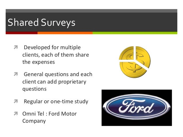 Syndicated sources of secondary data for Ford motor company customer satisfaction survey