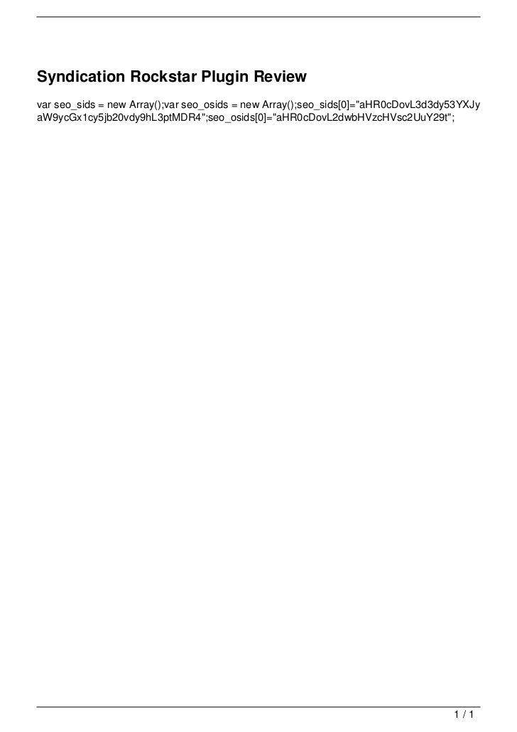 Syndication Rockstar Plugin Review                                   var seo_sids = new Array();var seo_osids = new Array(...