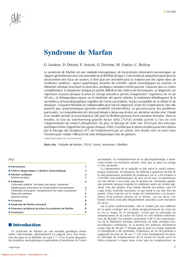 ¶ 19-1840                                                  Syndrome de Marfan                                             ...