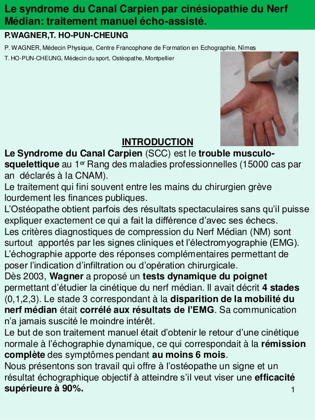 Le syndrome du Canal Carpien par cinésiopathie du NerfMédian: traitement manuel écho-assisté.P.WAGNER,T. HO-PUN-CHEUNGP. W...