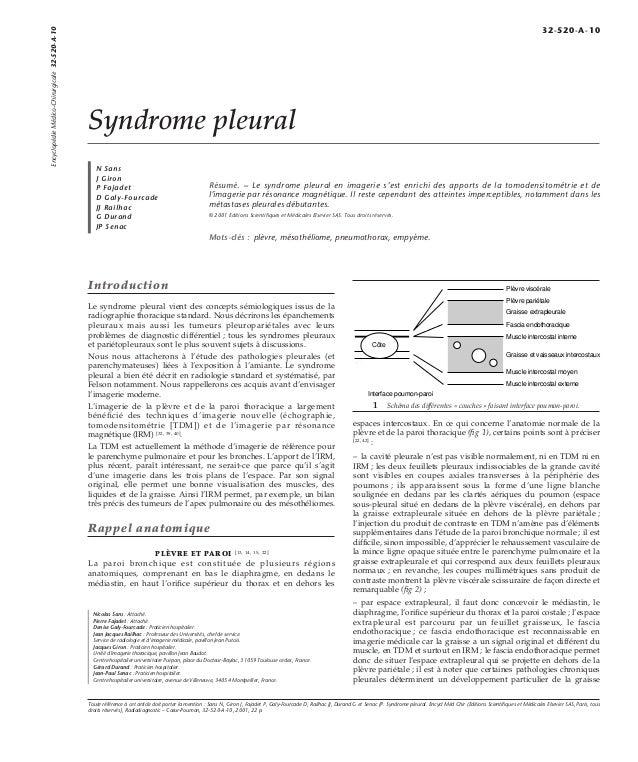 Syndrome pleural  N Sans  J Giron  P Fajadet  D Galy-Fourcade  JJ Railhac  G Durand  JP Senac  Résumé. – Le syndrome pleur...