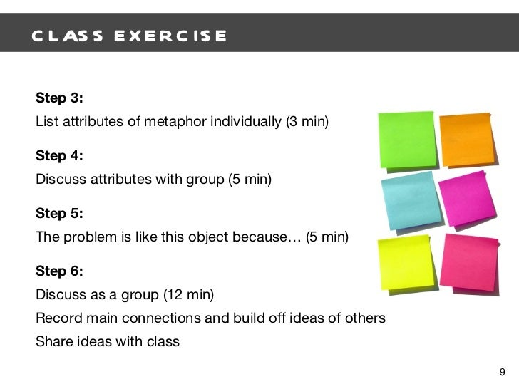 CLASS EXERCISE  Step 3: List attributes of metaphor individually (3 min) Step 4: Discuss attributes with group (5 min) Ste...