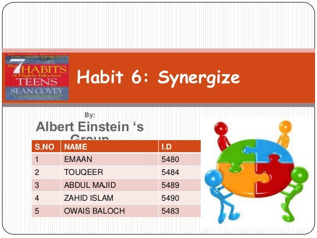 Habit 6: Synergize        By:Albert Einstein 's      GroupS.NO NAME            I.D1   EMAAN            54802   TOUQEER    ...