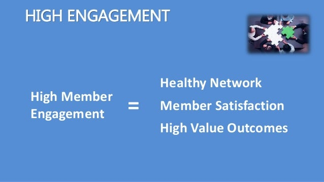 High Member Engagement HIGH ENGAGEMENT Healthy Network Member Satisfaction High Value Outcomes =