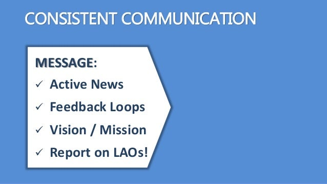 CONSISTENT COMMUNICATION MESSAGE:  Active News  Feedback Loops  Vision / Mission  Report on LAOs!
