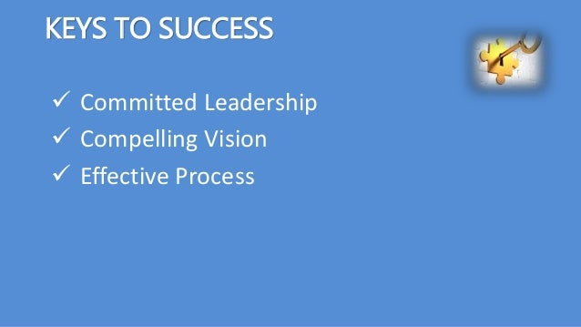 KEYS TO SUCCESS  Committed Leadership  Compelling Vision  Effective Process