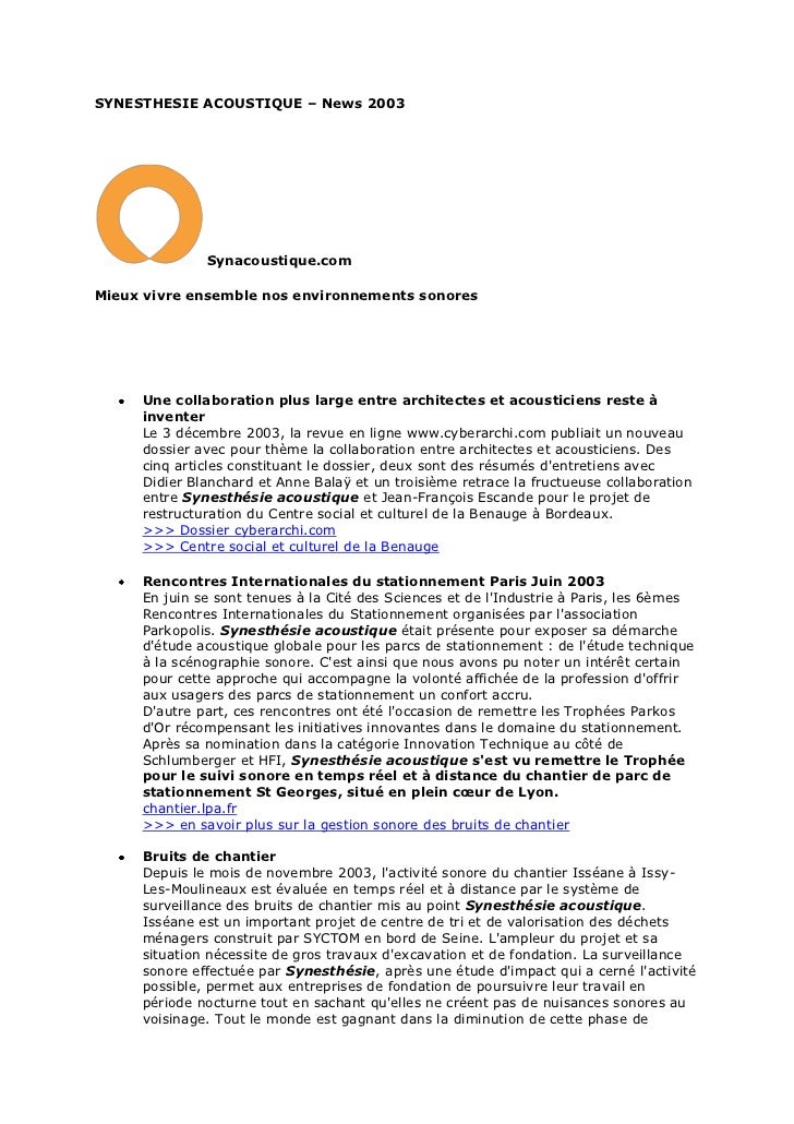 SYNESTHESIE ACOUSTIQUE – News 2003              Synacoustique.comMieux vivre ensemble nos environnements sonores     Une c...