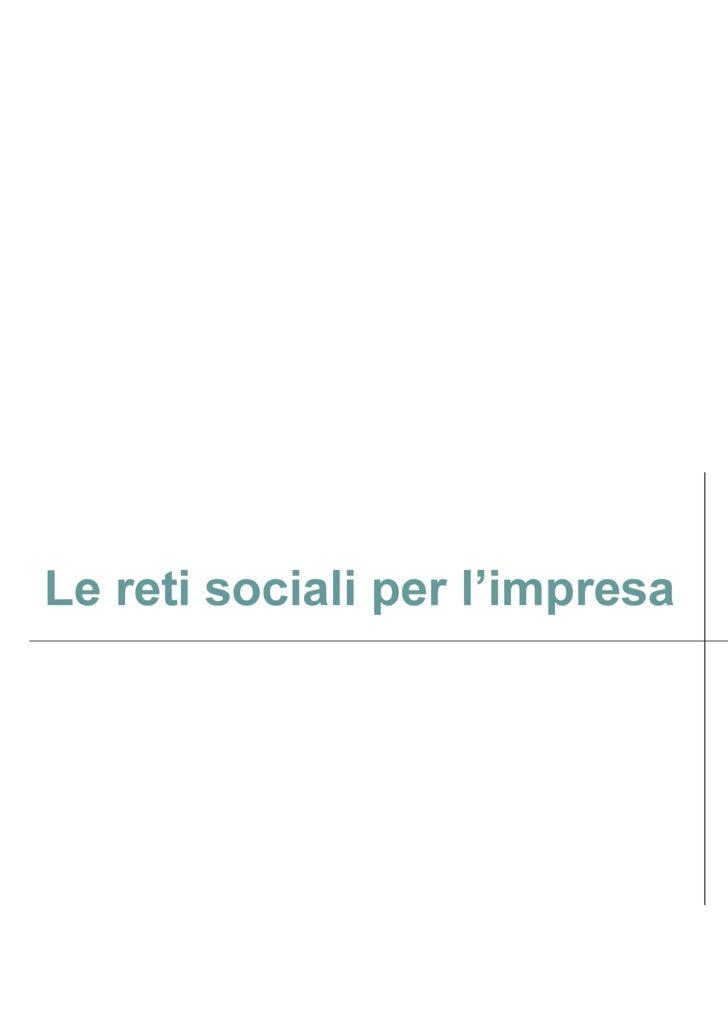 Le reti sociali per l'impresa