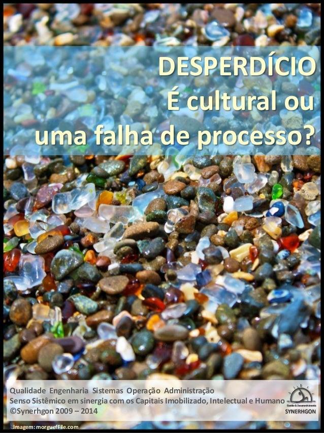 DESPERDÍCIO  É cultural ou  uma falha de processo?  Qualidade Engenharia Sistemas Operação Administração  Senso Sistêmico ...
