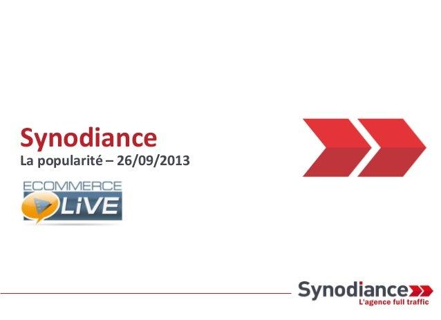 Synodiance La popularité – 26/09/2013