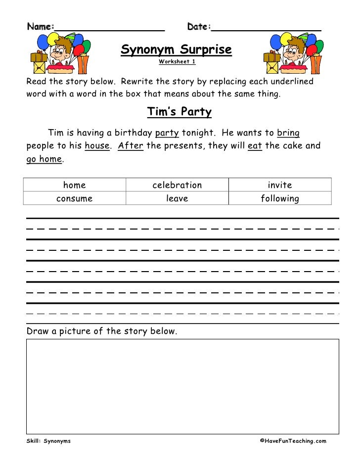 Synonym surprise synonym surprise worksheet 1read the story below freerunsca