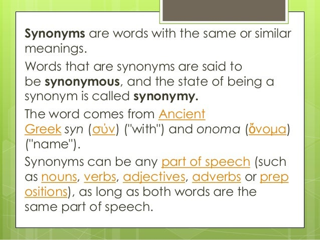 synonyms and sentences for thesis words
