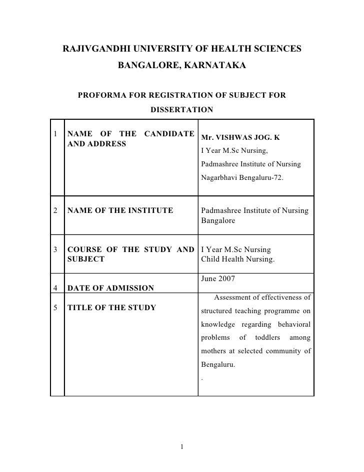 RAJIVGANDHI UNIVERSITY OF HEALTH SCIENCES               BANGALORE, KARNATAKA         PROFORMA FOR REGISTRATION OF SUBJECT ...