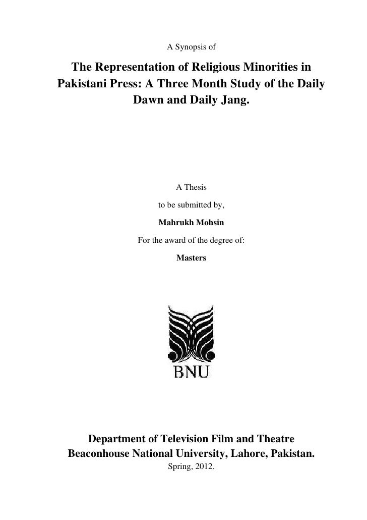 A Synopsis of  The Representation of Religious Minorities inPakistani Press: A Three Month Study of the Daily             ...