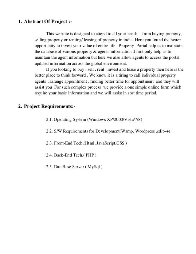 Synopsis for property portal projects for final year students