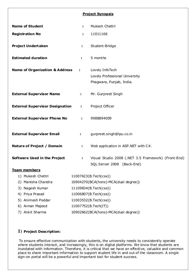 Project Synopsis Name of Student  :  Mukesh Chettri  Registration No  :  11011166  Project Undertaken  :  Student-Bridge  ...
