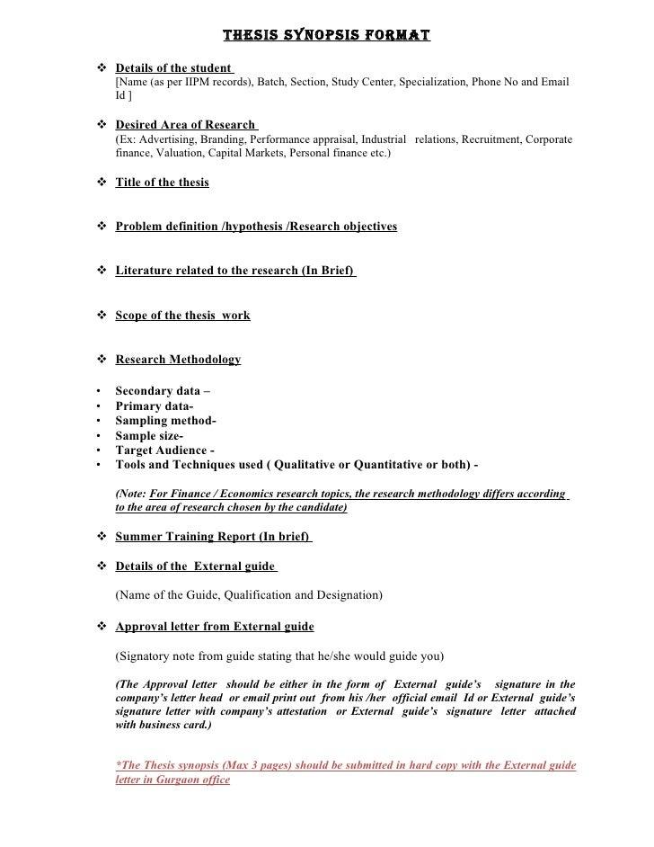 iipm thesis synopsis