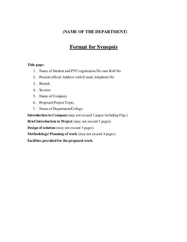 term paper synopsis format