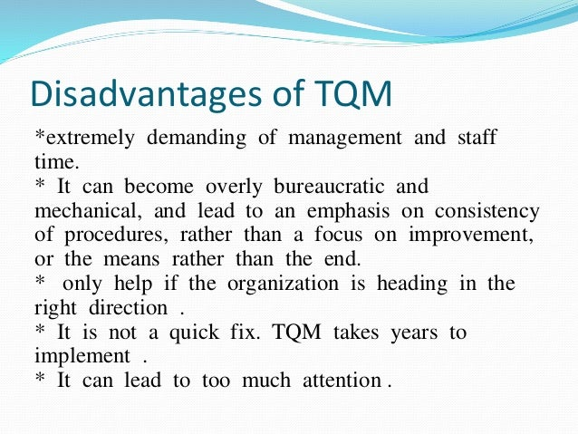 tqm ñ total quality management essay What is total quality management essays: over 180,000 what is total quality management essays, what is total quality management term papers, what is total quality management research paper, book reports 184 990 essays, term and research papers available for unlimited access.