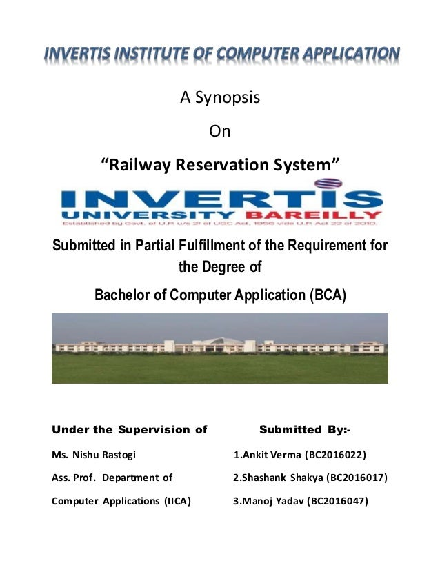 Synopsis on railway reservation system