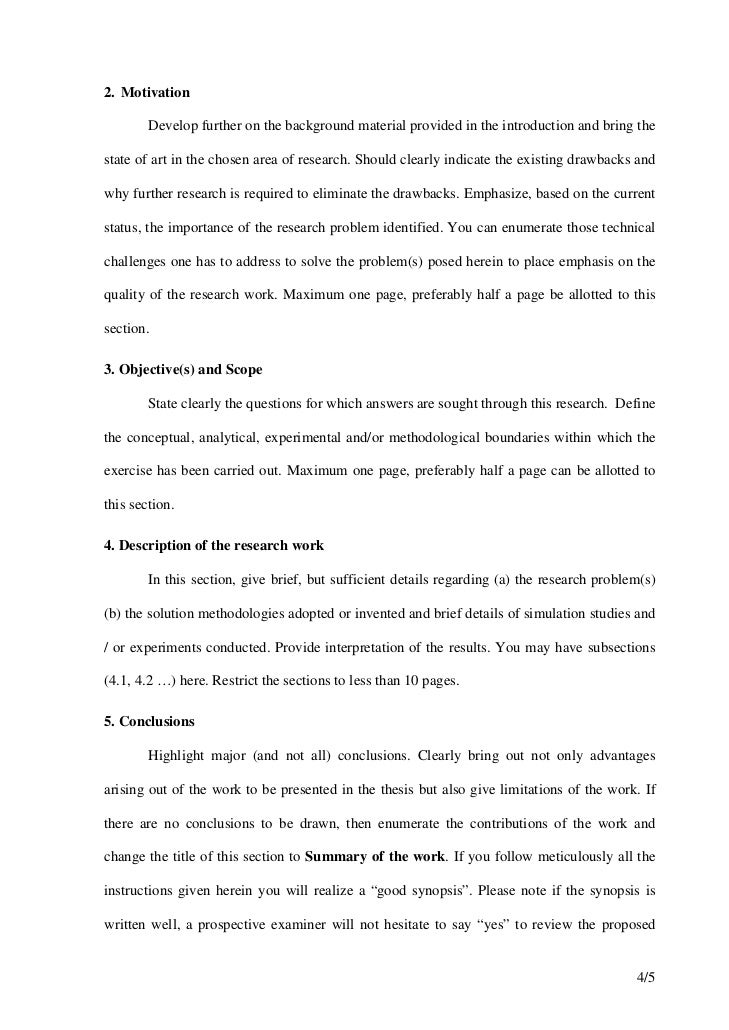 Synopsis format for Research synopsis template