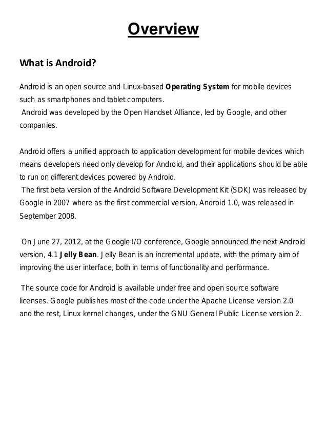 Synopsis on android application