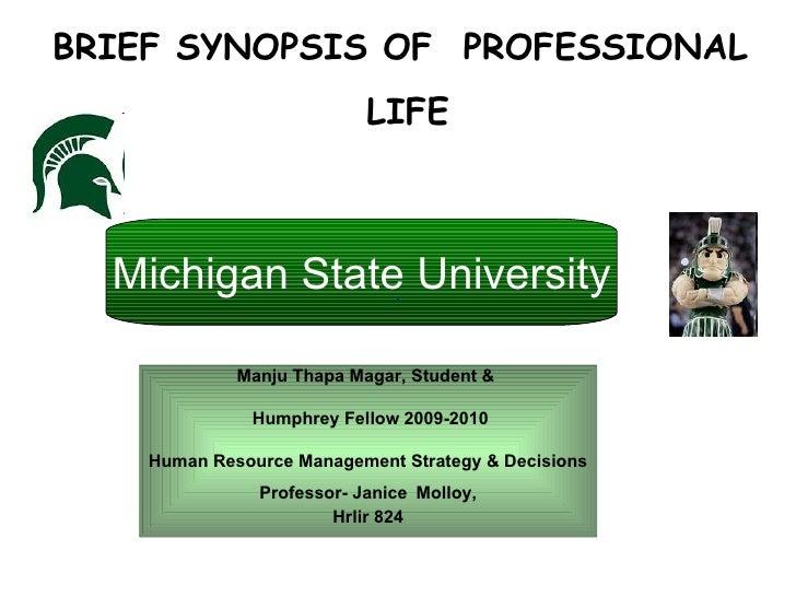 Manju Thapa Magar, Student &  Humphrey Fellow 2009-2010 Human Resource Management Strategy & Decisions  Professor- Janice ...