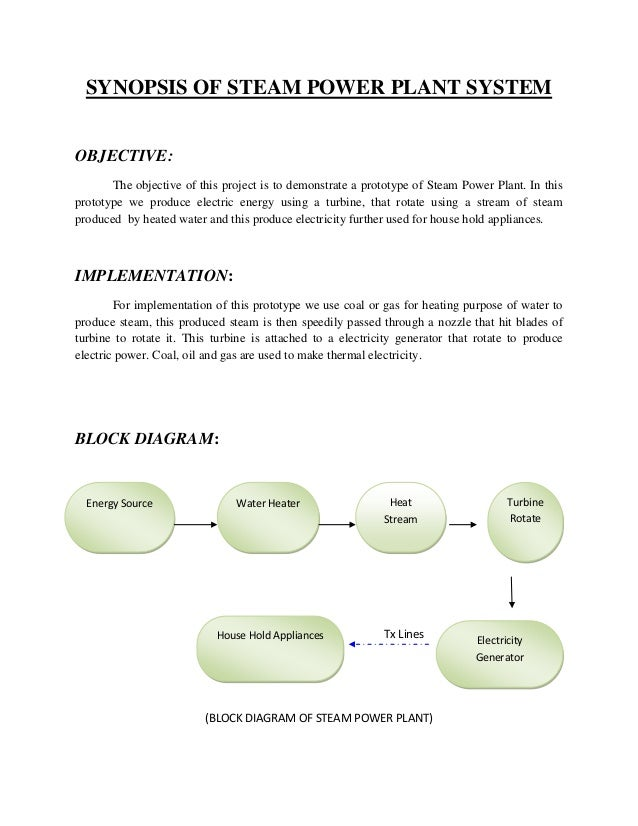 Synopsis of steam power plant system