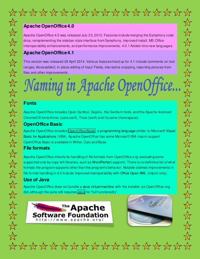 Synopsis on apache open office