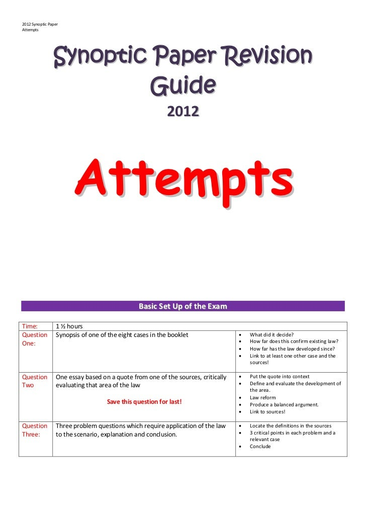 2012 Synoptic PaperAttempts                Synoptic Paper Revision                         Guide                          ...