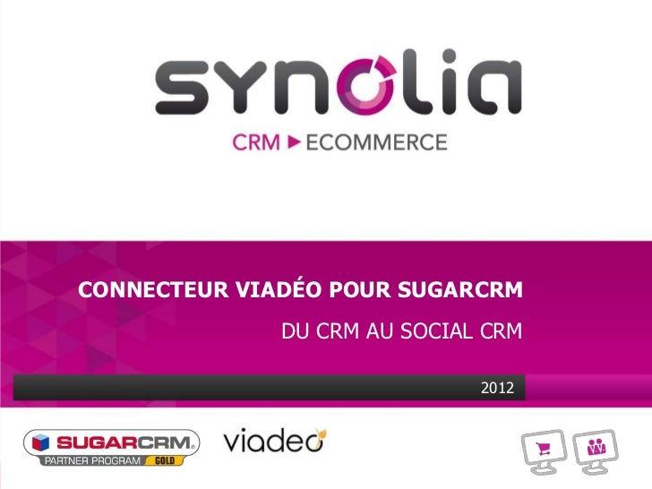 CONNECTEUR VIADÉO POUR SUGARCRM              DU CRM AU SOCIAL CRM                              2012