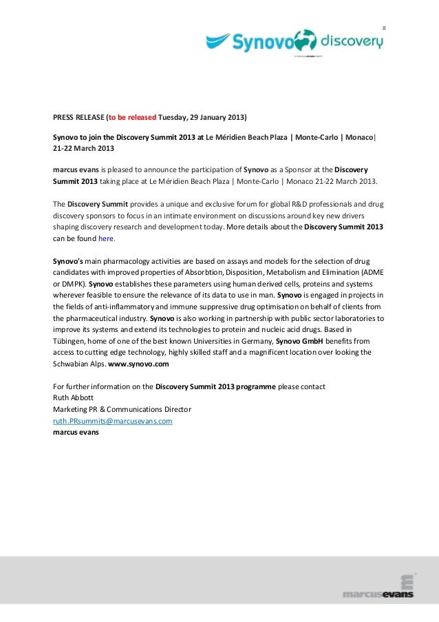PRESS RELEASE (to be released Tuesday, 29 January 2013)Synovo to join the Discovery Summit 2013 at Le Méridien Beach Plaza...