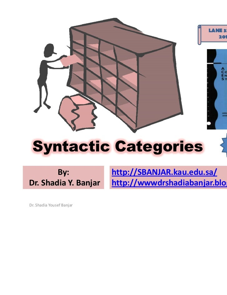 LANE 334 -EA: Syntax                                                     2011 – Term 2 Syntactic Categories               ...