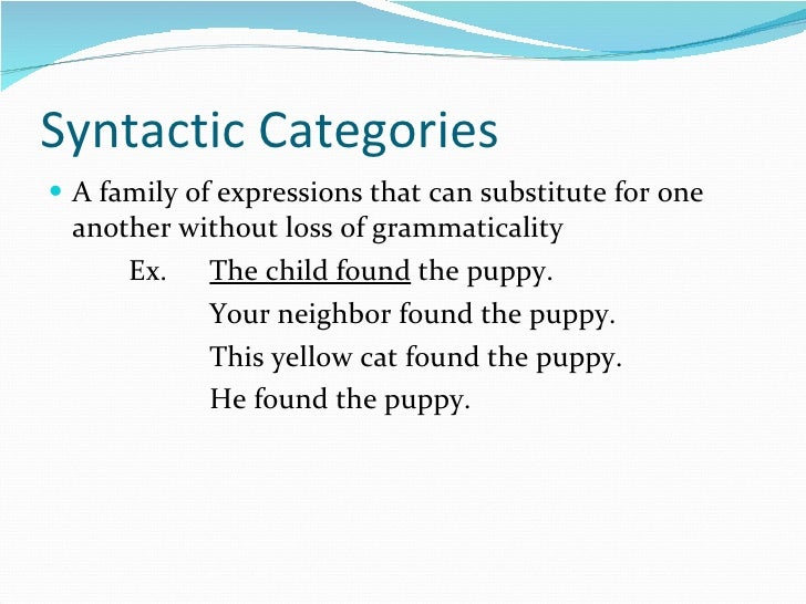 Syntactic Categories <ul><li>A family of expressions that can substitute for one another without loss of grammaticality </...