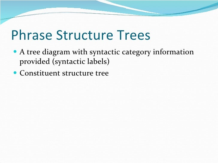 Phrase Structure Trees <ul><li>A tree diagram with syntactic category information provided (syntactic labels) </li></ul><u...