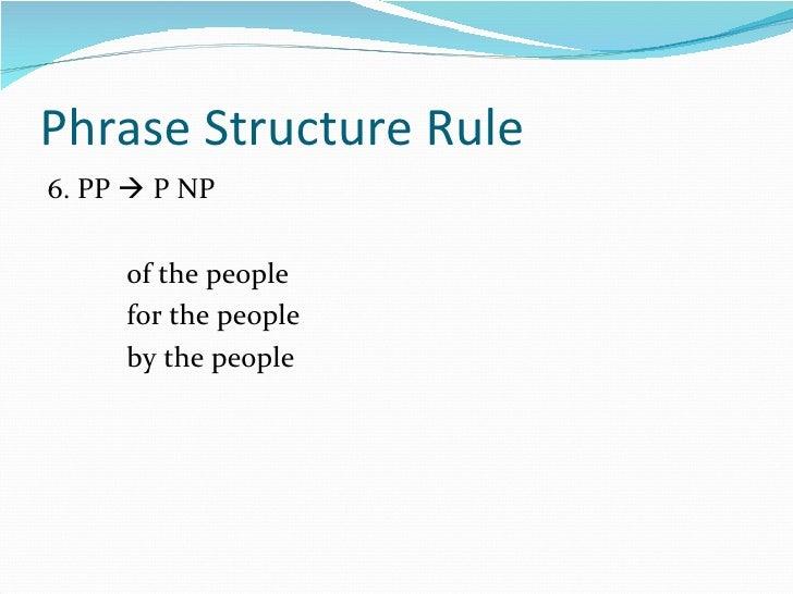 Phrase Structure Rule <ul><li>6. PP    P NP </li></ul><ul><li>of the people </li></ul><ul><li>for the people </li></ul><u...