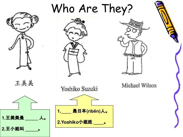 Who Are They?<br />1.____ 是日本(rìběn)人。<br />2.Yoshiko小姐姓 ____。<br />1.王美美是 _____ 人。<br />2.王小姐叫 _____。<br />